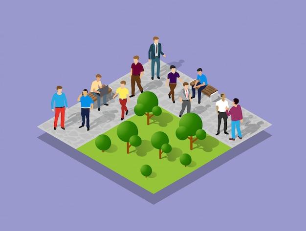 Parco cittadino con persone e alberi