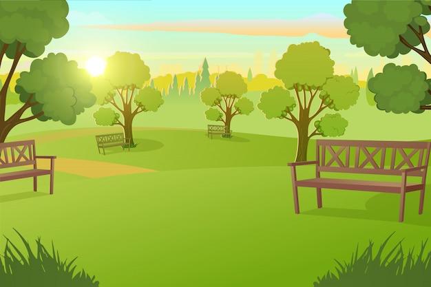 Parco cittadino o piazza con alberi sul vettore del prato