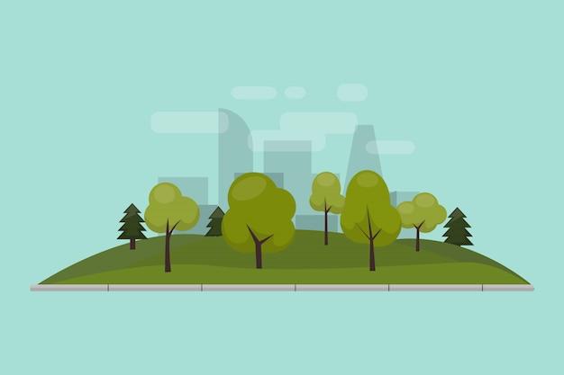 Parco cittadino, prato e alberi. illustrazione di uno stile piatto isolato. parco verde nel centro della città.