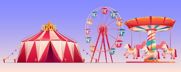 Parco di carnevale di divertimento con l'illustrazione della tenda di circo
