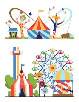 Parco di divertimenti, paesaggio urbano con caroselli