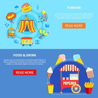Parco divertimenti 2 banner interattivi piatti