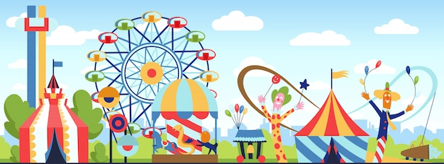 Parco divertimenti. tema di vettore del parco di divertimento, giorno di divertimenti di carnevale dei bambini, illustrazione in modo divertente del fumetto delle attrazioni dei bambini.