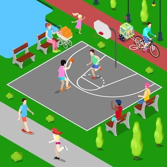 Parco giochi basket isometrica. gente sportiva che gioca a basket nel parco.