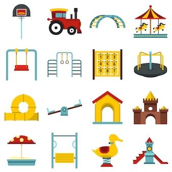 Parco giochi imposta icone piane