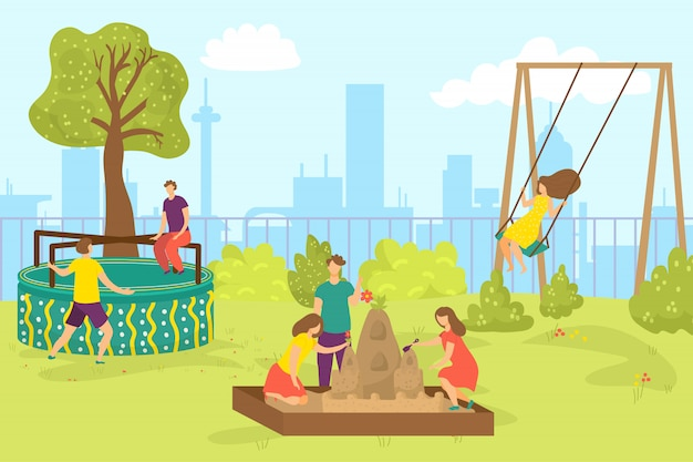 Parco giochi nel parco estivo, illustrazione. infanzia all'aperto, bambini felici ragazzo ragazza personaggio giocano in natura. attività per bambini all'asilo, ragazzo carino all'altalena.