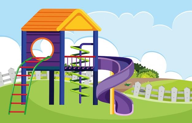 Parco giochi nella scena del parco