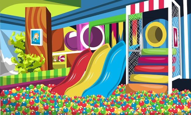 Parco giochi per bambini con palla a sfera, scivoli, scale e tunnel