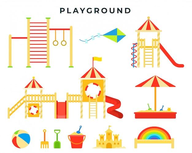 Parco giochi per bambini con sandbox, scivolo, barra orizzontale, scala, altalena, giochi. luogo di gioco per bambini