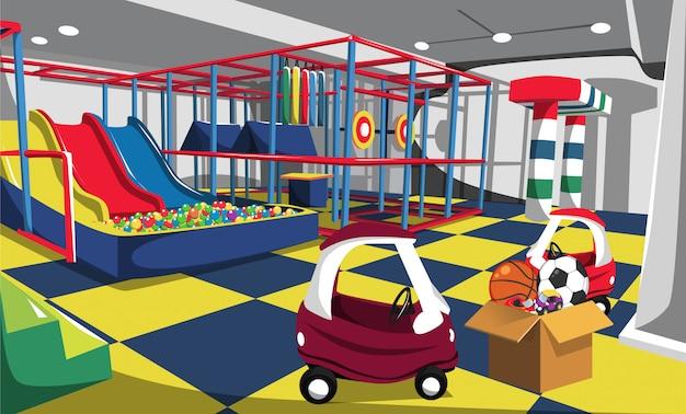 Parco giochi per bambini con scivoli, palla a sfera, giocattoli auto e arena colorata