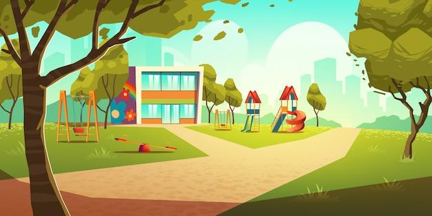 Parco giochi per bambini dell'asilo, illustrazione di area di bambini vuoti