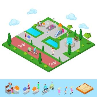 Parco giochi per bambini isometrici nel parco