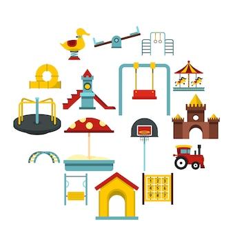 Parco giochi set icone piatte