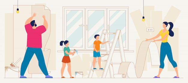 Parents with kids wallpapering home flat