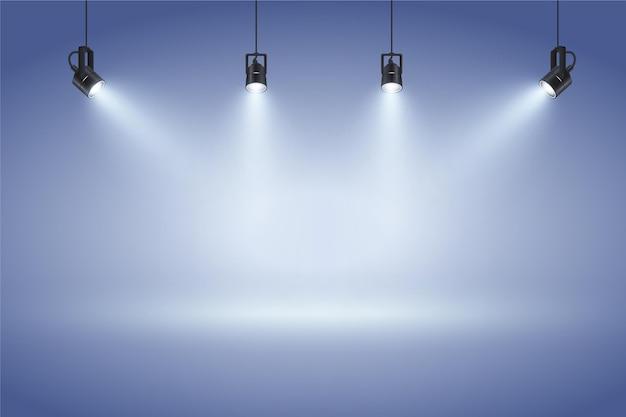 Parete blu con sfondo di luci spot