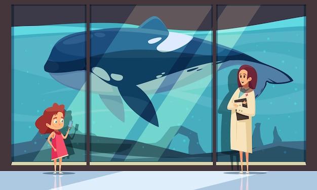 Parete dell'acquario con un'orca