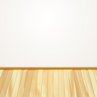 Parete di casa con pavimento in legno