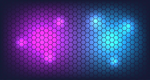 Parete di esagono 3d con sfondo bagliore al neon