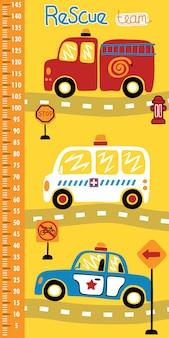 Parete di misurazione dell'altezza con cartone animato di veicoli di salvataggio