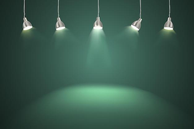 Parete verde con sfondo di luci spot