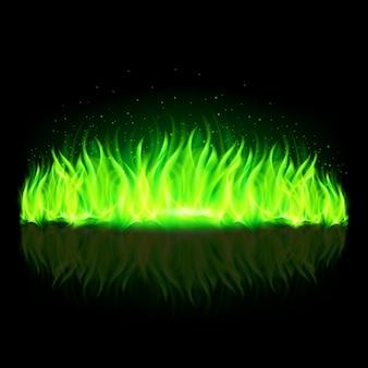 Parete verde di fuoco.