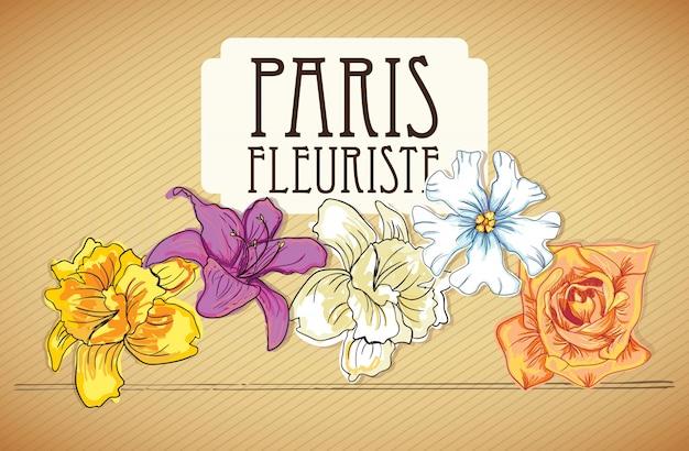 Parigi fleuriste (icone dei fiori) su sfondo vintage