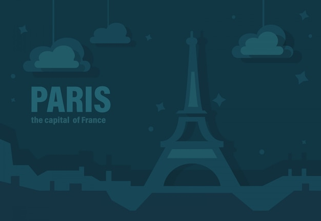 Parigi, la capitale della francia. illustrazione vettoriale di eiffel tower of paris
