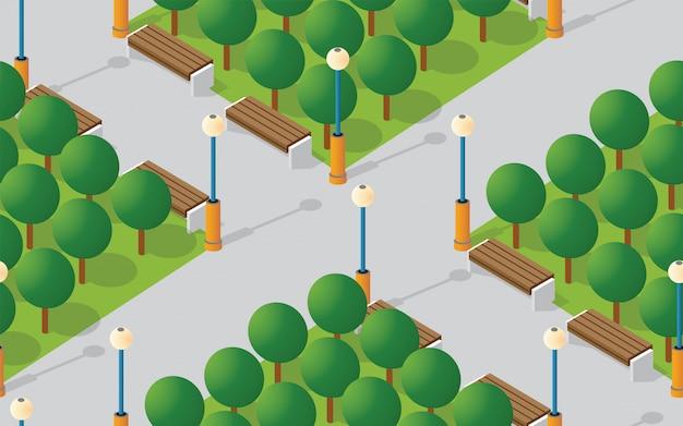 Park city con prati di alberi