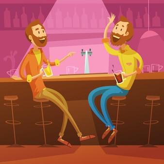 Parlando e bevendo amici sullo sfondo del bar con sedie e birra