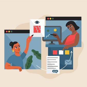 Parlare con gli amici online concetto quarantena a casa