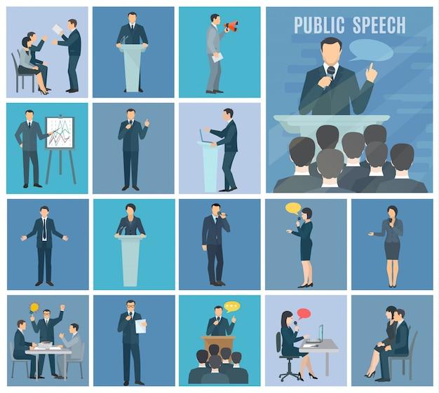 Parlare in pubblico per vivere il pubblico workshop e presentazioni impostare set di icone piane sfondo blu