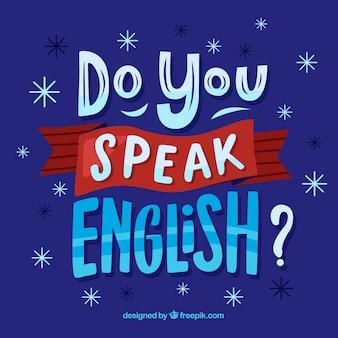 Parli inglese lettering sfondo