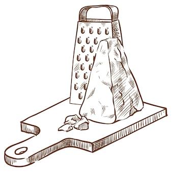 Parmigiano sul bordo e un disegno della mano di schizzo di vettore della grattugia