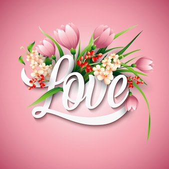 Parola amore con fiori. illustrazione vettoriale