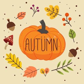 Parola di autunno sulla zucca con foglie