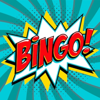Parola di bingo su fumetti in stile pop art a forma di botto