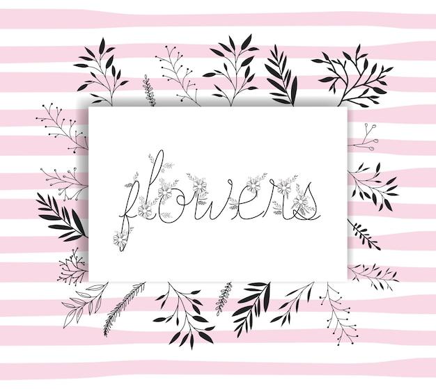 Parola di fiori con font fatto a mano e decorazione floreale