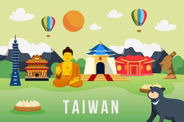 Parola di taiwan con punti di riferimento