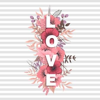 Parola floreale amore (fiori, erba, foglie). lettera floreale