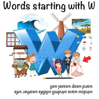 Parola inglese che inizia con l'illustrazione di w.