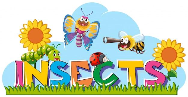 Parola per insetti con molti insetti in giardino