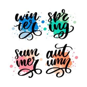 Parole colorate, primavera, estate, autunno, stagioni invernali scritte calligrafia