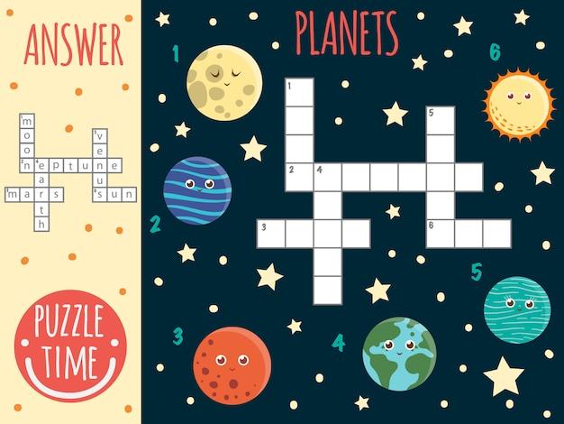 Parole incrociate dello spazio. quiz luminoso e colorato per i bambini. attività di puzzle con pianeti, luna, nettuno, terra, marte, venere, sole.