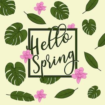 Parole primavera con ghirlanda