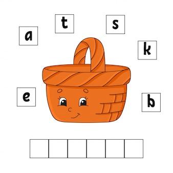 Parole puzzle. istruzione che sviluppa foglio di lavoro. gioco di apprendimento per bambini. pagina delle attività puzzle per bambini. riddle per l'età prescolare. illustrazione di vettore isolato piatto semplice in stile cartone animato carino.