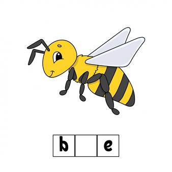 Parole rompicapo, ape. foglio di lavoro per lo sviluppo dell'istruzione. gioco di apprendimento per bambini.