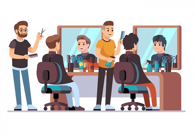 Parrucchiere con cliente. barbieri che fanno taglio di capelli alla moda maschio nell'interno del barbiere con gli specchi. illustrazione vettoriale di salone di bellezza
