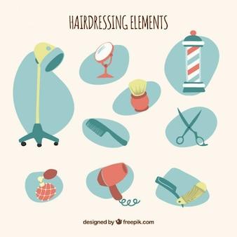 Parrucchiere della mano disegnato e barber accessori pacco