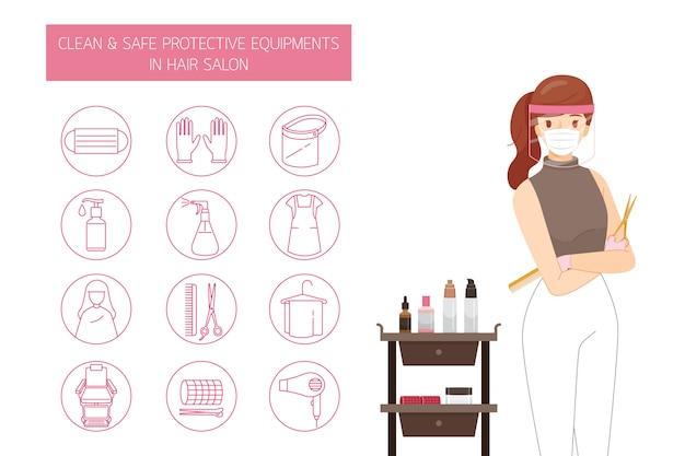 Parrucchiere femminile che indossa maschera e protezione per il viso, con attrezzature protettive pulite e sicure nel parrucchiere, set di icone di contorno