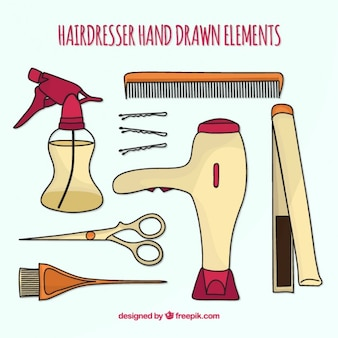 Parrucchiere mano elementi disegnati